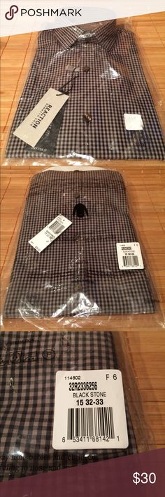 "Kenneth Cole Reaction Men's Shirt 15 32/33 - NWT Kenneth Cole Reaction men's long sleeved cotton dress/casual shirt NEW WITH ALL TAGS AND IN ORIGINAL PACKAGING. It's a slim fit size 15 32/33 and package states ""slimmer through the chest and body"". It's an ""easy care"" fabric which is great for a college guy and the ""Dry-Tek"" fabric is made for more moisture control, breathability, coolness and comfort.  My son wears these year round including summer. Roll up sleeves for casual look. Photo 4…"