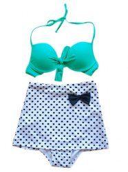 Maillot de Bain Polyester Bikini Licou Nœud Imprimé Pois Pour Femmes