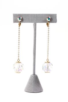 50's__Sarah Coventry__Crystal Drop Clip-on Earrings