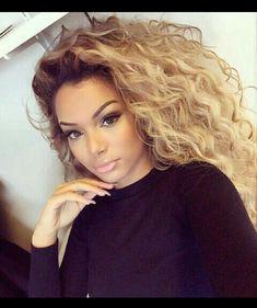 Tousled dope hair looks 2018 Medium Blonde Hair, Blonde Wig, Blonde Balayage, Asian Balayage, Ash Blonde Highlights, Black Hair With Highlights, Curly Hair Styles, Natural Hair Styles, Lace Hair