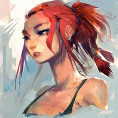 "3,707 Likes, 43 Comments - Sam Youn (@samuelyounart) on Instagram: ""Messy head. tried to experiment a little #digitalpainting #girl #redhead 27/100"""
