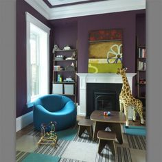 Eggplant, bright blue-greens, gold accents with cream.