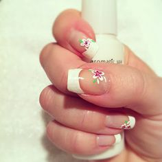 French manicure with flowers Cute Nails, Pretty Nails, Nail Art Images, French Nails, Summer Nails, Nail Ideas, Manicure, Nail Designs, Spring