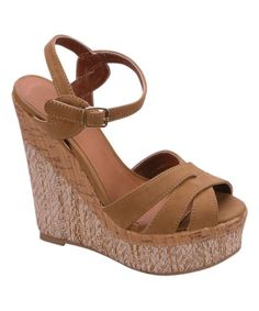 Camel Strap Edith Wedge Sandal