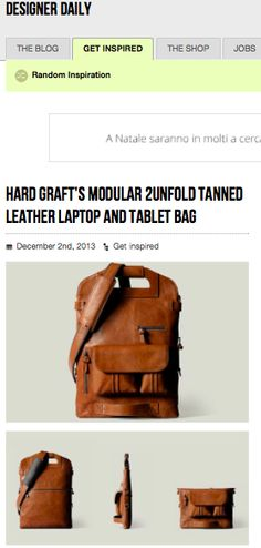 Hard Graft's modular 2unfold tanned leather laptop and tablet bag DESIGNER DAILY