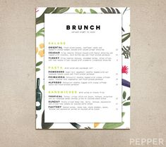 Custom Restaurant Menu Printable PDF by PepperDesignStudio Brunch Cafe Menu, Brunch Table, Diner Menu, Cafeteria Menu, Apple Menu, Cafe Menu Design, Menu Pdf, Restaurant Names, Restaurant Ideas