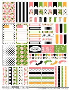 Spring Floral Free Printable Planner stickers for the classic size Happy Planner.  Includes 2 full pages of planner stickers.