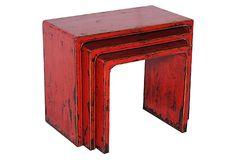 S/3 Nesting Tea Tables, Red on OneKingsLane.com