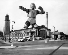 Johnny Sokko's Flying Robot Stands Guard At The West Side Market. 1950