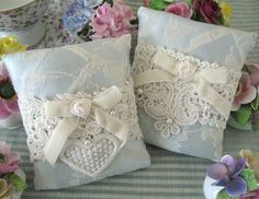 Pillow Sachets Set of 2 Blue Damask Lavender by CharlotteStyle
