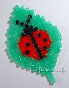 Fuse Bead Lady Bug on a Leaf