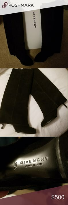 """Givenchy black shark tooth nubuck pant tall boots Size 381/2  excellent condition! Comes with original box, a duster bag and heel replacements . Suede is in perfect condition. Soles are in excellent condition. 3"""" heel height Givenchy Shoes Heeled Boots"""