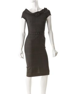 Moschino Cheap and Chic Dress  Price: $125.00  Charcoal scoop neck wool dress with belt and short sleeves.