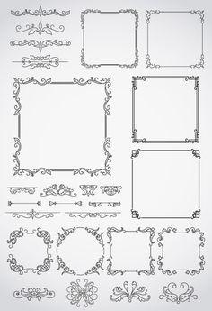 飾り罫線,フレーム枠 ベクターイラスト素材 Doodle Drawings, Doodle Art, Border Design, Pattern Design, Quilt Labels, Borders And Frames, Planner, Vintage Labels, Chalk Art