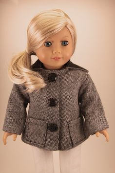 American Girl Doll chevron hooded jacket coat by dollpetitecouture