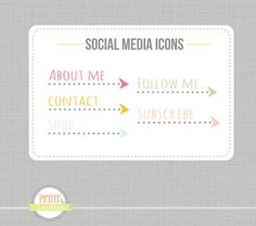 Blog buttons Sidebar Icons website icons Custom by PrintSmitten, $9.00