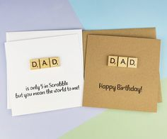 Scrabble birthday card for Dad Daddy Step-Dad Father's | Etsy Dad Birthday Card, Happy Birthday Cards, Fathers Day Cards, Happy Fathers Day, You Mean The World To Me, Wooden Alphabet, Hand Logo, Kraft Envelopes, Greeting Cards Handmade