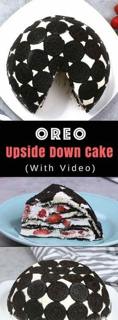 Easy Upside Down Oreo Cake No Bake – So delicious and super easy to make with only a few simple ingredients: Oreos, cream cheese, sugar, cool whip, milk and strawberries. The perfect quick and easy dessert recipe. No bake. Brownie Desserts, Köstliche Desserts, Delicious Desserts, Yummy Food, Health Desserts, Sweet Recipes, Cake Recipes, Dessert Recipes, Quick Dessert
