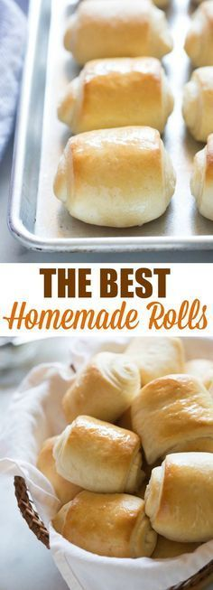 The BEST soft and fluffy homemade rolls! Step by step photos and tips for making perfect dinner rolls--this recipe couldn't be easier. Homemade Dinner Rolls, Dinner Rolls Recipe, Easy Homemade Rolls, Easy Rolls, Homemade Breads, Baked Rolls, Pasta, Cooking Recipes, Bread Recipes