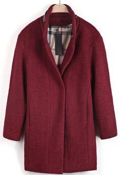 Red Long Sleeve Leather Embellished Woolen Coat - Sheinside.com