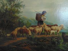 19c Sheep Lamb Child Landscape Painting Oil by CoyoteMoonAntiques