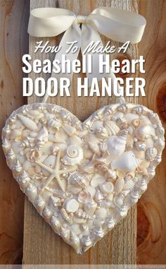 Seashell Heart Door Hanger: How To Craft With Shells Make a DIY heart-shaped door hanger with seashells, pearls, and rhinestones. Perfect idea instead of a wreath for summer decor and crafts! Should you enjoy arts and crafts a person will love our site! Seashell Art, Seashell Crafts, Beach Crafts, Summer Crafts, Summer Diy, Crafts With Seashells, Seashell Garland, Mermaid Crafts, Seashell Ornaments