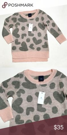 NWT Gap Pink Gray Heart Slouchy Sweater Size 12-18 months. Acrylic. Super soft GAP Shirts & Tops Sweaters