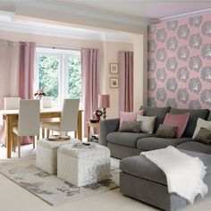 Feminine and fun living and dining room. Always have loved the grey and pink color scheme.