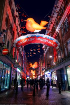 Christmas Decorations at Carnaby Street, London, England