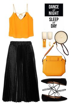 """""""Comme des Garçons GIRL Pleated satin midi skirt"""" by thestyleartisan ❤ liked on Polyvore featuring Gianvito Rossi, MANGO, Comme des Garçons GIRL, Clarins, Christophe Robin and Native State"""