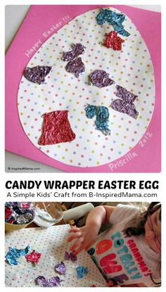Candy Wrapper Easter Egg Collage Craft at B-inspired Mama  #kids #Easter #binspiredmama #kbn