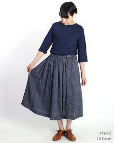 インディゴ二重織スカート