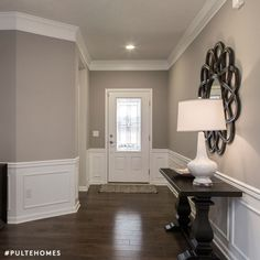 Wall color is Sherwin Williams Mindful Gray. crown molding and wainscott by sheryl