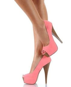 Platform Peep-toes - Seek and get recommendations of where to buy in your specifications. Pink High Heels, Coral Heels, Pink Pumps, Peach Heels, Green Heels, Stilettos, Stiletto Heels, Nude Heels, Dresses