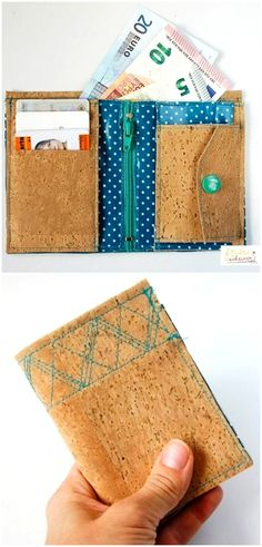 Sewing instructions for an extraordinary wallet made of cork and SnapPap via Makerist. Backpack Pattern, Wallet Pattern, Adobe Reader, Cork Fabric, Patchwork Bags, Sewing Box, Couture, Diy Beauty, Diy Tutorial