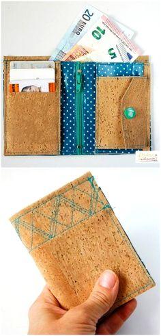 Nähanleitung für ein außergewöhnliches Portemonnaie aus Kork und SnapPap via Makerist.de