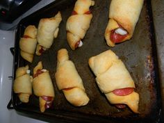 Pepperoni Crescent rolls (http://pinterest.com/pin/132011832797176076/) - a little salty for us, but can definitely be adapted.