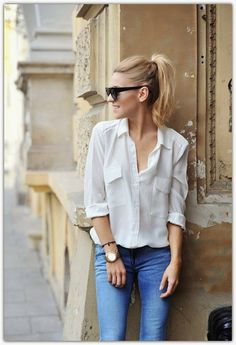 Loose White Button Down Shirt with Cuffed Sleeves, Denim Skinny Jeans, Basic Black Sunnies, High Ponytail // easy