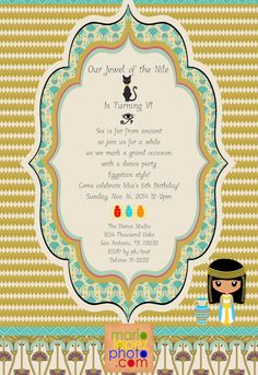 Cleopatra Egyptian Party Invitation (Digital File)