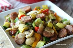 Chicken and Apple Sausage Vegetable Skillet – an easy, one-pot meal full of juicy sausage and fresh veggies. It's healthy and delicious, and makes a great Paleo or dinner solution! Sausage Recipes, Chicken Recipes, Cooking Recipes, Healthy Recipes, Kitchen Recipes, Veggie Recipes, Healthy Meals, Delicious Recipes, Healthy Food