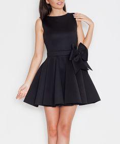 Look what I found on #zulily! Katrus Black Bow Skater Dress by Katrus #zulilyfinds