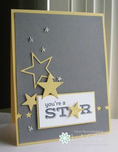 handmade card ... Stampin' Seasons ... star theme ... sand, gray and vanilla ... great layout design ...