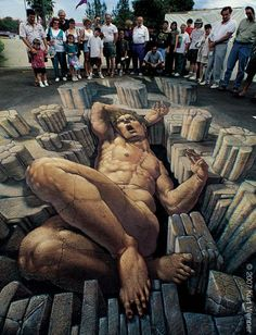 Chalk painting of a giant by Kurt Wenner