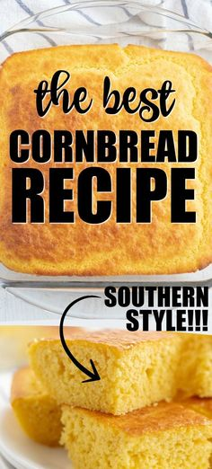 For us, the best cornbread recipe is one that is not only delicious but also quick and easy to make. We are pretty positive we have found a winner. This is the best cornbread recipe. It passes all the tests - easy, delicious, quick, and homemade. Cornbread Recipe From Scratch, Easy Cornbread Recipe, Homemade Cornbread, Cornbread Recipe With Canned Corn, Creamed Corn Cornbread, Cornbread Muffins, Southern Recipes, Southern Food, Southern Style