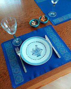 35x45cm Ethnic Colorful Bronze Hand Blockprinted Indigo Placemat Authentic Traditional Handcrafted Turkish by JIJIMA on Etsy