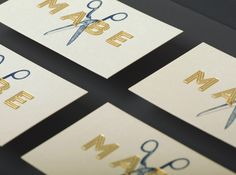 Business card with emboss surface texture, illustrative detail and gold foil print finish for MABE designed by Band.