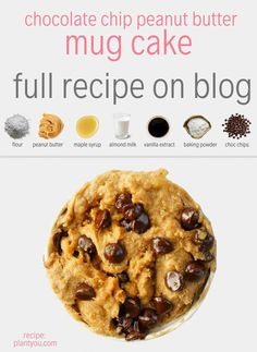 Mug cakes follow the same recipe guidelines that any normal vegan cake would need. You start with flour, something moist such as banana or nut butter, something liquidy like almond or cashew milk, baking powder and something sweet such as maple syrup or date syrup.  Chocolate Chip Mug Cake |Vegan Mug Cake Recipe  #vegandessertideas #veganhealthydessert #veganbreakfastideas #vegancakerecipes #veganmugcake