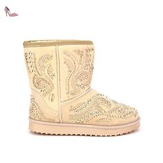 Cendriyon, Boots Fourrée beige avec Strass ROXANA Chaussures Femme Taille 40 - Chaussures cendriyon (*Partner-Link)