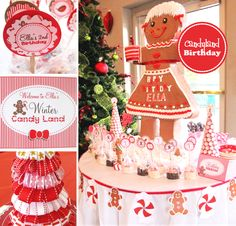 Christmas Candyland Party Ideas Desserts Table December Birthday