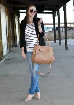 the perfect office casual look: jeans, nude heels, striped tee, and a blazer!